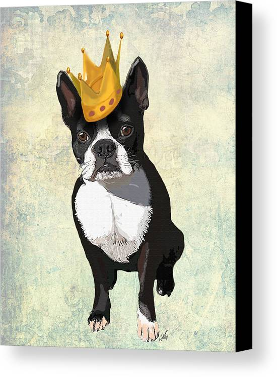 Boston Terrier Framed Prints Canvas Print featuring the digital art Boston Terrier With A Crown by Kelly McLaughlan