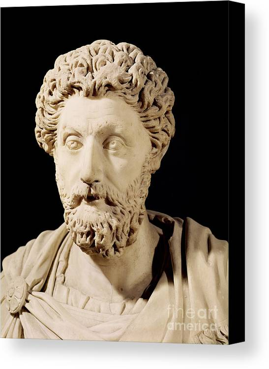 Roman Emperor Canvas Print featuring the sculpture Bust Of Marcus Aurelius by Anonymous