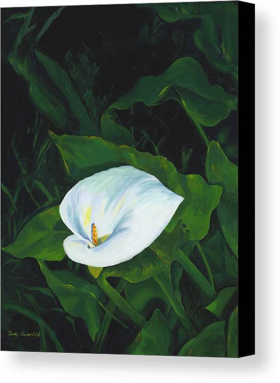 Calla Lily Canvas Print featuring the painting Calla Lily In The Garden Of Diego And Frida by Judy Swerlick