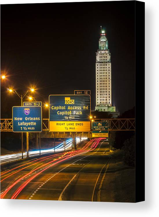 Louisiana Canvas Print featuring the photograph Capitol Area Access Road by Andy Crawford
