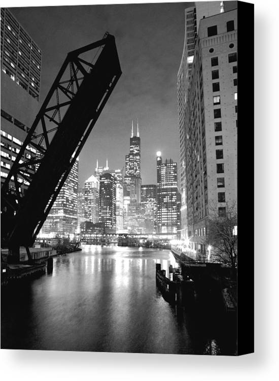 Chicago Skyline Canvas Print featuring the photograph Chicago Skyline - Black And White Sears Tower by Horsch Gallery