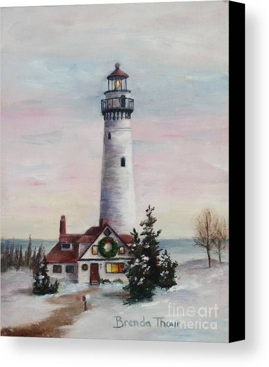Lighthouse Canvas Print featuring the painting Christmas Light by Brenda Thour