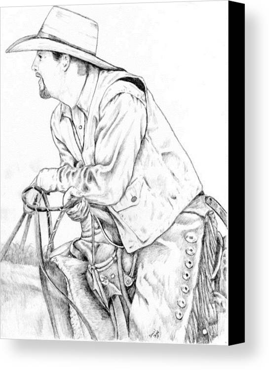 West Canvas Print featuring the drawing Cowboy by Daniel Jakus
