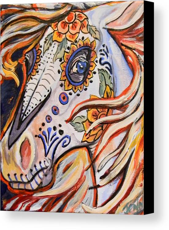 Horse Canvas Print featuring the painting Day Of The Dead Horse by Jenn Cunningham