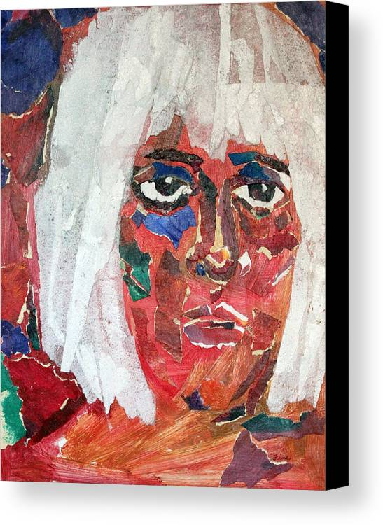 Mixed Media Portrait Canvas Print featuring the mixed media Diane by Diane Fine