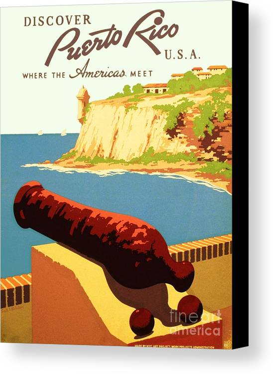 Art Deco Canvas Print featuring the painting Discover Puerto Rico by Pg Reproductions