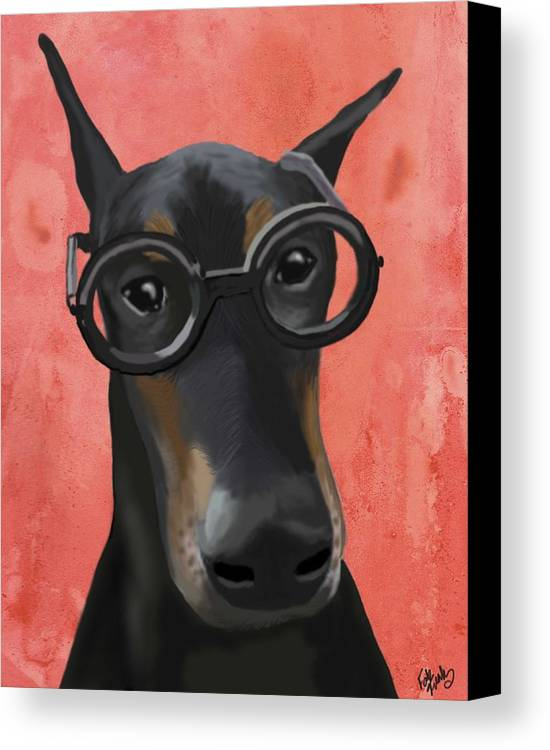 Doberman Framed Prints Canvas Print featuring the digital art Doberman With Glasses by Loopylolly