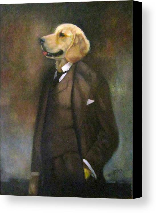 Dog Canvas Print featuring the painting Doggone Executive by Janet McGrath