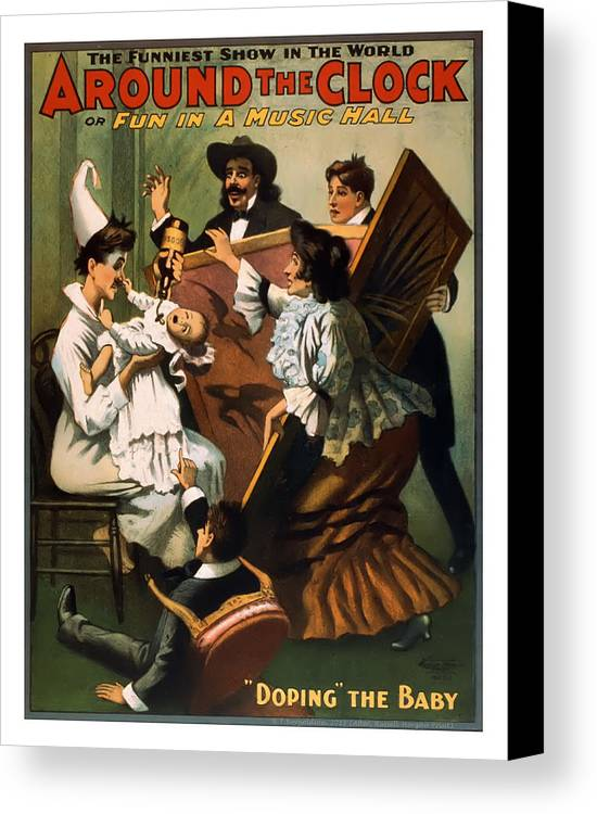 Vintage Poster Canvas Print featuring the mixed media Doping The Baby by Terry Reynoldson