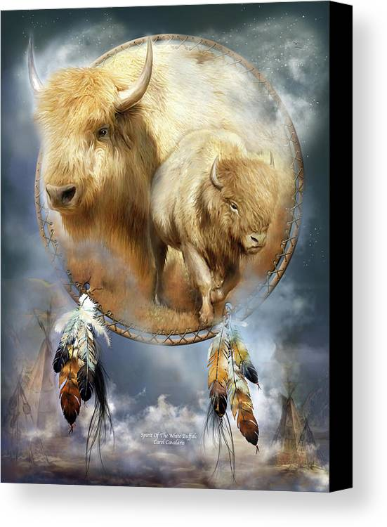 Carol Cavalaris Canvas Print featuring the mixed media Dream Catcher - Spirit Of The White Buffalo by Carol Cavalaris