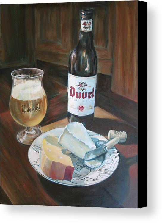 Cheese Canvas Print featuring the painting Duvel And Cheese Plate by Jennifer Lycke
