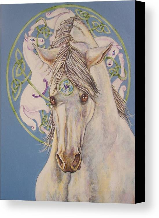 Celtic Canvas Print featuring the painting Epona The Great Mare by Beth Clark-McDonal