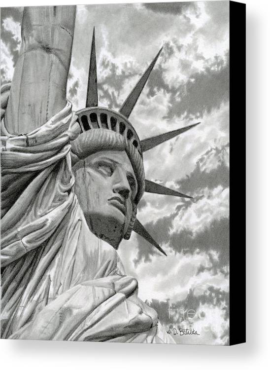 Statue Of Liberty Canvas Print featuring the drawing Freedom by Sarah Batalka