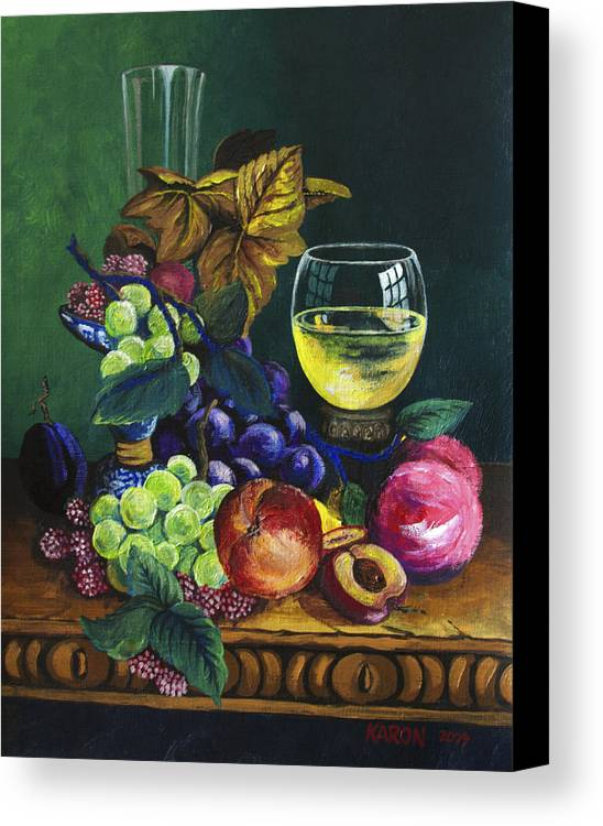 Fruit And Wine Canvas Print featuring the painting Fruit And Wine by Karon Melillo DeVega
