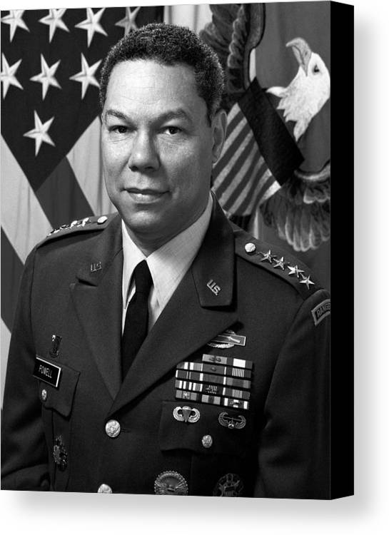 Colin Powell Canvas Print featuring the photograph General Colin Powell by War Is Hell Store