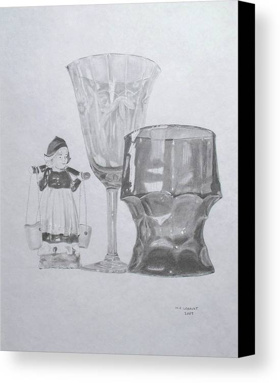 Glassware Canvas Print featuring the drawing Grammas Glasses by Mary Ellen Mueller Legault