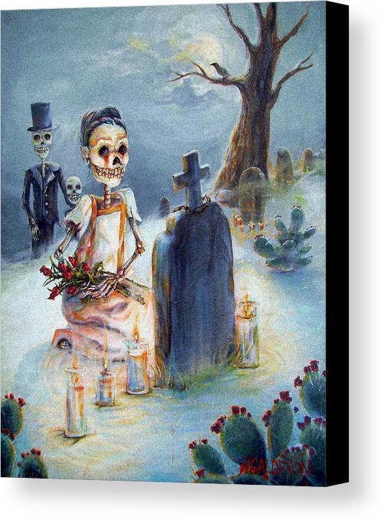 Skeletons Canvas Print featuring the painting Grave Sight by Heather Calderon