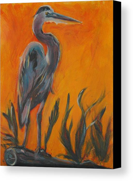 Wildlife Canvas Print featuring the painting Great Blue by Stephanie Allison