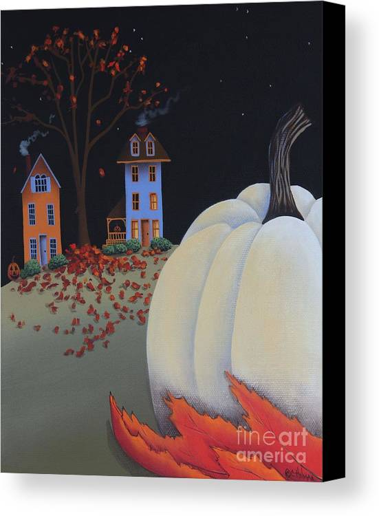 Art Canvas Print featuring the painting Halloween On Pumpkin Hill by Catherine Holman