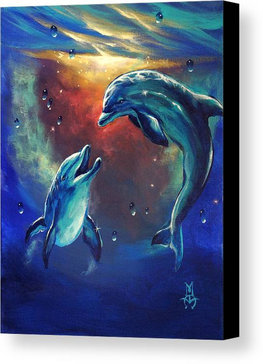 Dolphins Canvas Print featuring the painting Happy Dolphins by Marco Antonio Aguilar