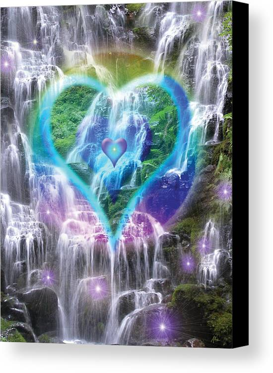 Heart Of Waterfalls Canvas Print featuring the photograph Heart Of Waterfalls by Alixandra Mullins