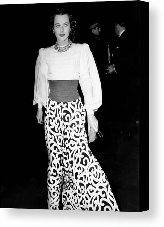 1930s Candid Canvas Print featuring the photograph Hedy Lamarr, At The Premiere Of They by Everett