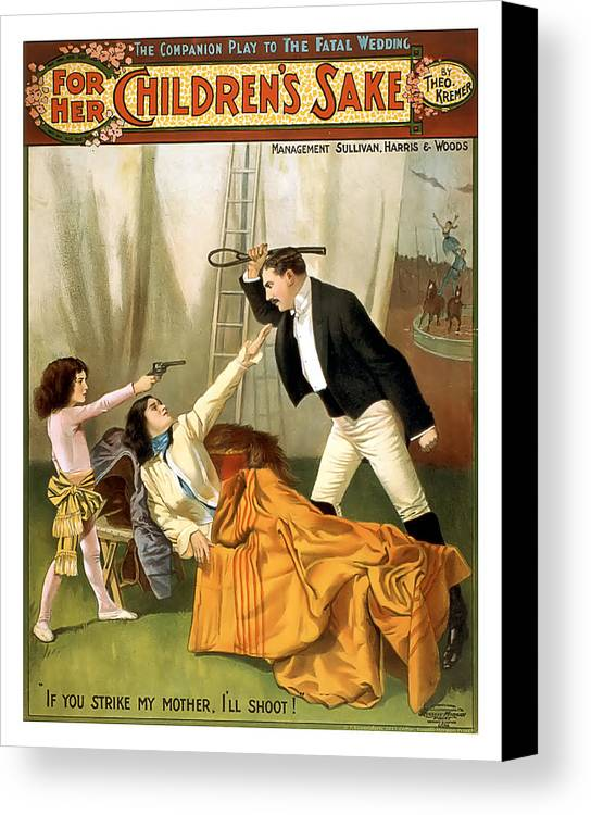 Vintage Poster Canvas Print featuring the mixed media If You Strike My Mother by Terry Reynoldson