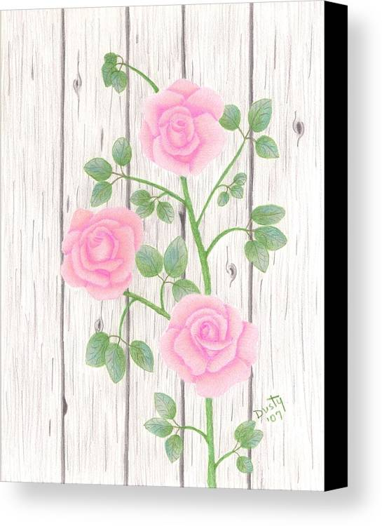Rose Canvas Print featuring the drawing In Memory Of... by Dusty Reed