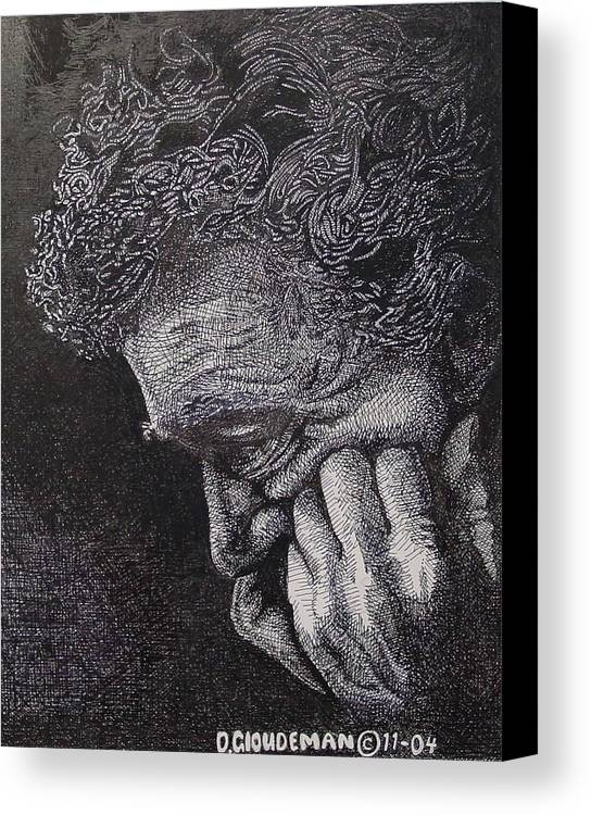 Portraiture Canvas Print featuring the drawing Introspection by Denis Gloudeman