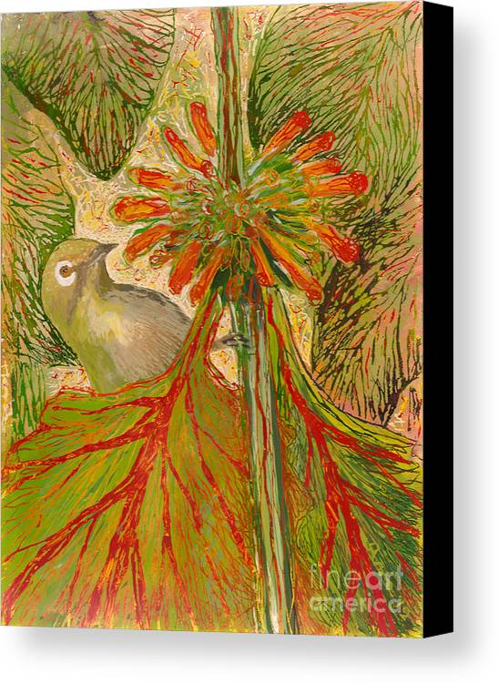 Hawaii Birds Canvas Print featuring the painting Japanese White Eye by Anna Skaradzinska