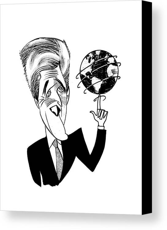 John Kerry Earth Day Canvas Print featuring the drawing John Kerry Earth Day by Tom Bachtell