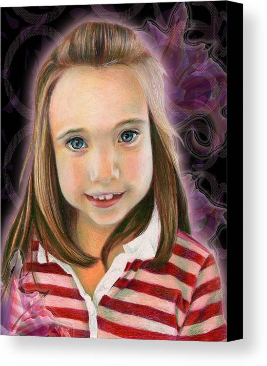 Young Canvas Print featuring the drawing Kaylee by Heather Raven Illingworth