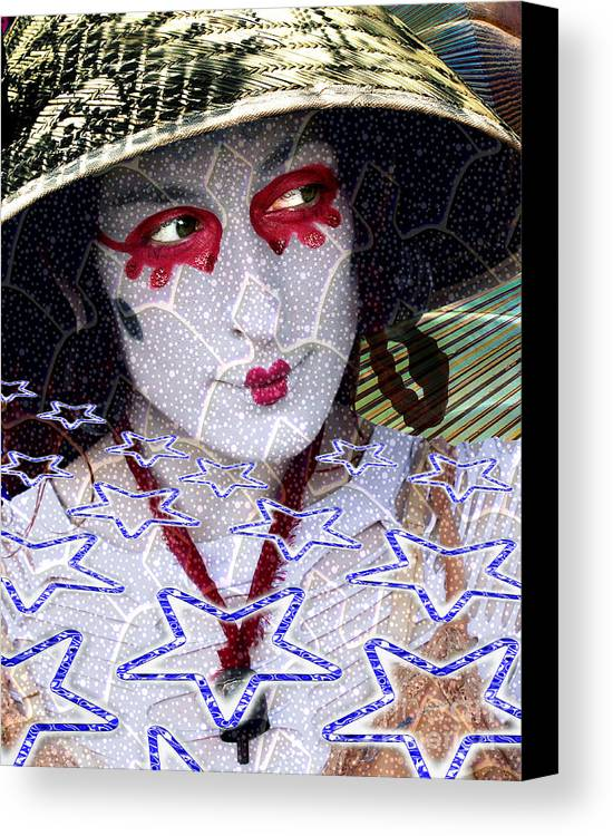 Stars Canvas Print featuring the digital art Magic Lady Goddess by Keith Dillon