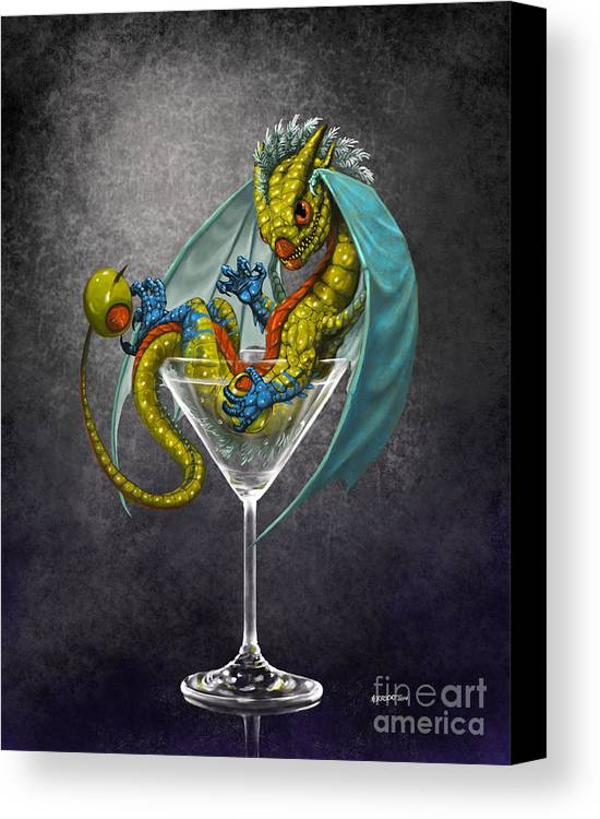 Dragon Canvas Print featuring the digital art Martini Dragon by Stanley Morrison