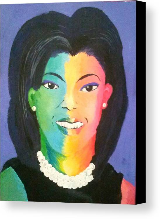 Michelle Obama Canvas Print featuring the painting Michelle Obama Color Effect by Kendya Battle
