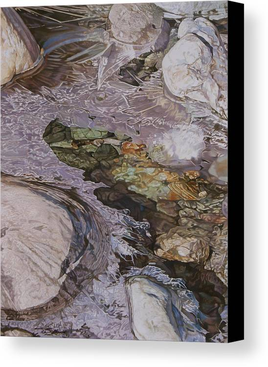 Water Canvas Print featuring the painting Morning Ice by Stephen Dittberner