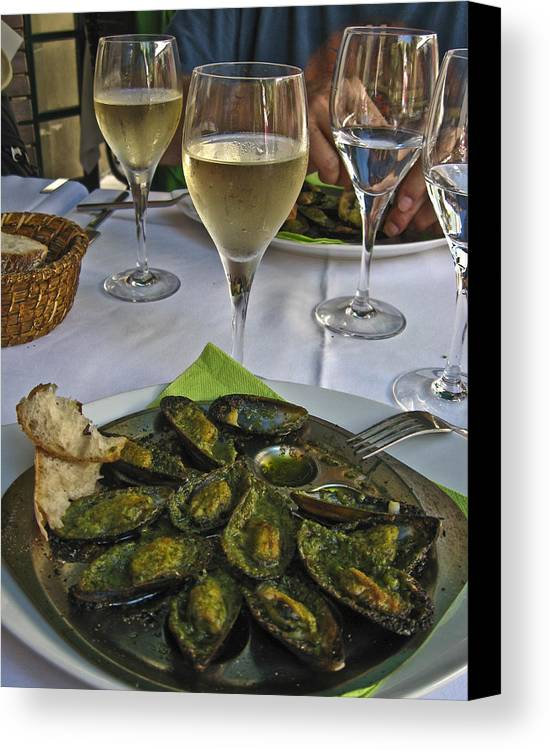 Food Canvas Print featuring the photograph Moules And Chardonnay by Allen Sheffield