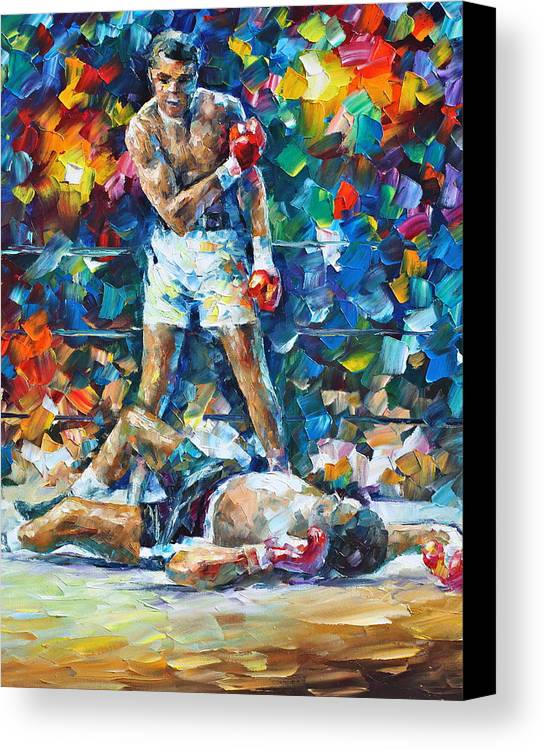Box Canvas Print featuring the painting Muhammad Ali by Leonid Afremov