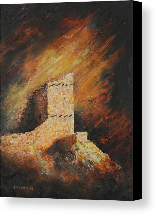 Anasazi Canvas Print featuring the painting Mummy Cave Ruins 2 by Jerry McElroy