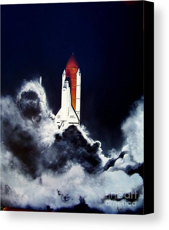 Oil Canvas Print featuring the painting Night Launch by Murphy Elliott