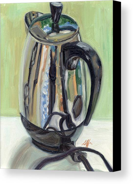 Percolator Canvas Print featuring the painting Old Reliable Stainless Steel Coffee Perker by Jennie Traill Schaeffer