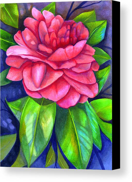 Camellia Canvas Print featuring the painting Pink Camellia by Elaine Hodges