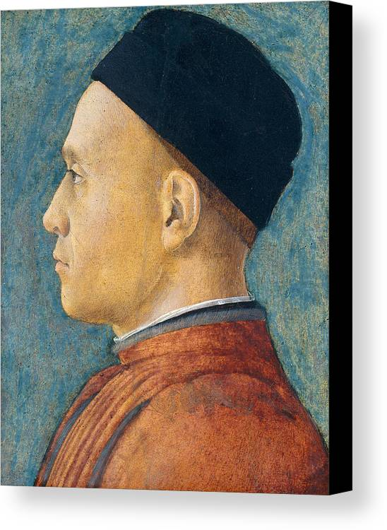 Profile Canvas Print featuring the painting Portrait Of A Man by Andrea Mantegna