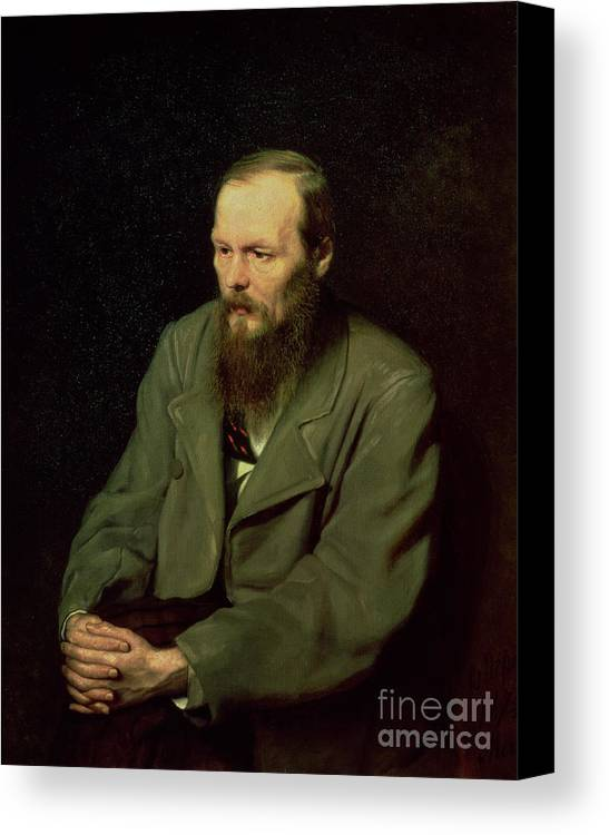 Beard; Male; Novelist; Dostoevsky; Dostoievsky; Dostoievski; Writer; Author; Fedor Canvas Print featuring the painting Portrait Of Fyodor Dostoyevsky by Vasili Grigorevich Perov