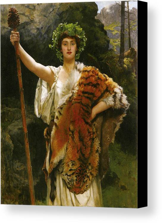 John Collier Canvas Print featuring the digital art Priestess Bacchus by John Collier