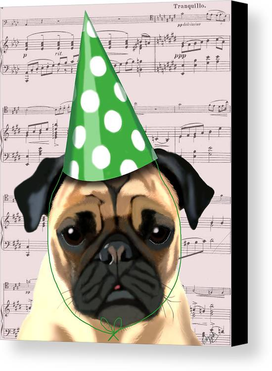 Pug Framed Prints Canvas Print featuring the digital art Pug In A Party Hat by Kelly McLaughlan