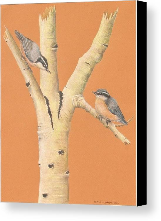 Birds Canvas Print featuring the painting Red-breasted Nuthatches On Aspen by Gina Gahagan