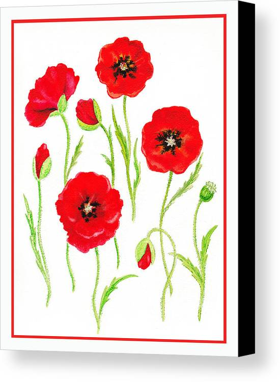Poppies Canvas Print featuring the painting Red Poppies by Irina Sztukowski