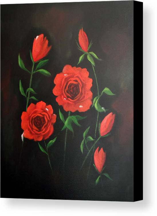 Floral Canvas Print featuring the painting Red Roses Weeping by Cynthia Adams