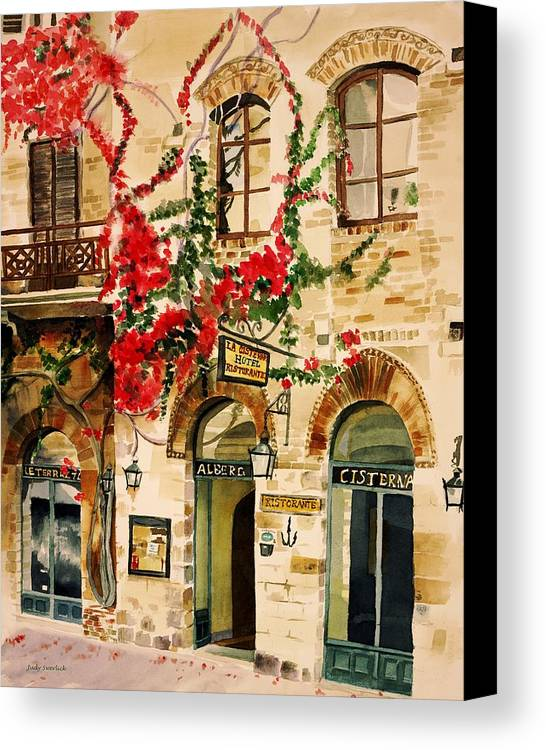 Award-winning Canvas Print featuring the painting San Gimignano by Judy Swerlick